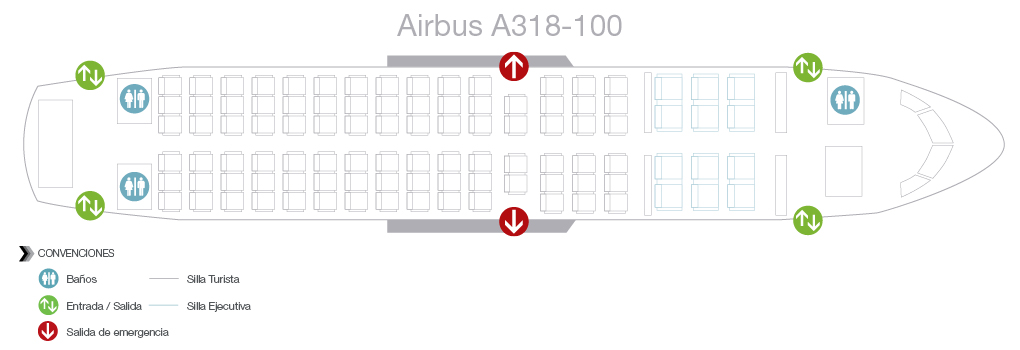 Seatmap of Avianca Airbus A318