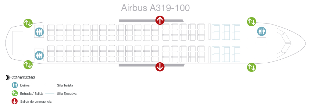 Seatmap of Avianca Airbus A319