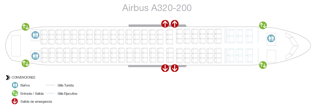 Seatmap of Avianca Airbus A320